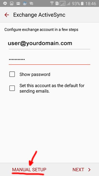 Configure exchange account