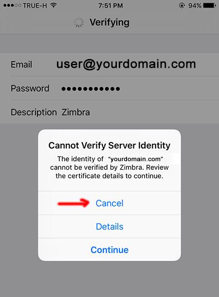 Cannot Verify Server Identify