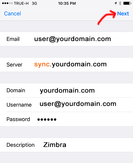 Add Zimbra Mobile Sync Server