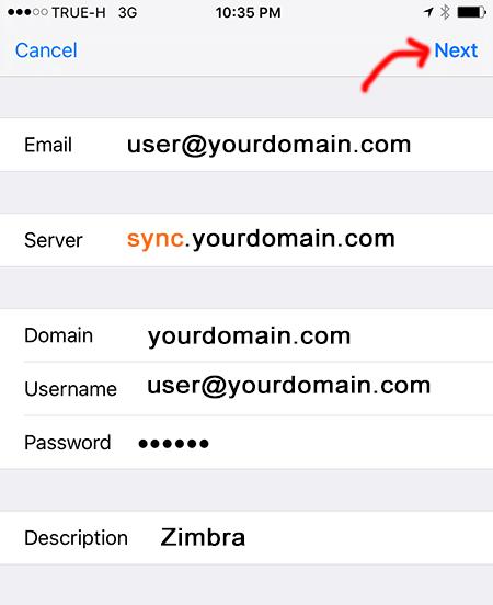 Add Zimbra Mobile Sync Server