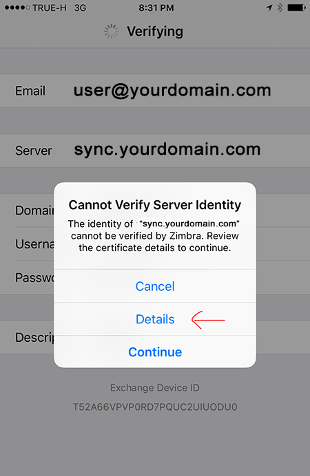 connect to Zimbra Mobile Sync Server