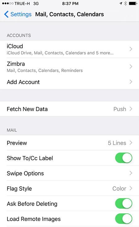 Zimbra on iOS Setup Complete